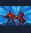 superhero couple staying on roof with city vector image