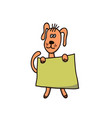 the dog stands on its hind legs and holding a vector image vector image