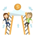Two business women competing for the money vector image vector image