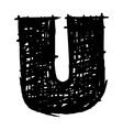 U - hand drawn character sketch font vector image vector image