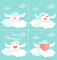 valentine day greetings delivery concept set vector image