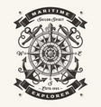 vintage maritime explorer typography one color vector image