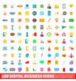 100 digital business icons set cartoon style vector image