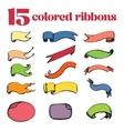 15 colored ribbons hand drawing vector image