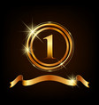 golden logo for celebration with ring and ribbon vector image
