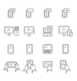 Set of icons modern technology and communication vector image