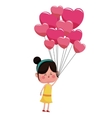 girl with balloons pink hearts valentine vector image
