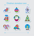 merry christmas colorful icon set vector image