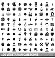 100 vegetarian cafe icons set in simple style vector image vector image
