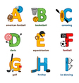 alphabet sport from A to I vector image vector image