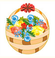 basket with field flower vector image vector image