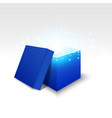 blue gift box on white background vector image vector image