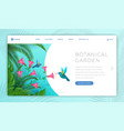botanical garden landing page template watching vector image vector image