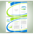 Brochure design template green blue line vector image