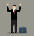 Businessman in a suit surrendering vector image vector image