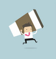 businessman running with big cup of coffee vector image