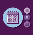 calendar reminder with set icons vector image