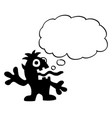 cartoon crazy flat black monster with empty vector image