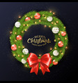 christmas wreath balls vector image vector image