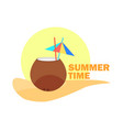 coconut cocktail with straw and umbrella summer vector image