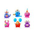 collection cute funny colorful monsters cartoon vector image vector image