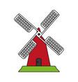 color image cartoon farm windmill vector image vector image