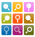 Colorful Magnifying Glass Square Icons Set vector image vector image