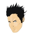 comic style face of man with spikey black hair vector image