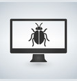 computer is infected malware bug on screen vector image vector image
