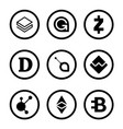 cryptocurrency or virtual currencies black icon vector image vector image