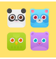 Cute square animals icons vector image