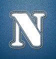 Denim jeans letter N vector image vector image
