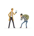 detective catching a thief - cartoon people vector image vector image