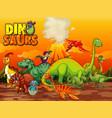 dinosaurs cartoon character in nature scene vector image