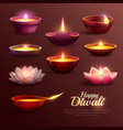 diwali celebration icons set vector image vector image