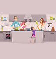 family kitchen kids boys and girls helping vector image