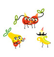 flat fruit summer party characters set vector image vector image