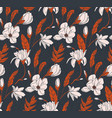 floral bouquet dark seamless pattern with small vector image vector image