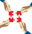 Four hands collect puzzle vector image