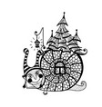 fun snail with a house on its back vector image