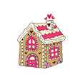 gingerbread house christmas cookie hand vector image vector image