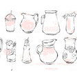 hand drawn graphic kitchen glassware vector image vector image