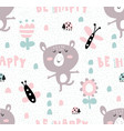 happy bear pattern vector image vector image