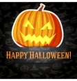 Happy halloween greeting card with bright jack-o vector image