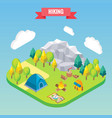 hiking in mountain forest isometric concept vector image vector image