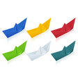 isometric colorize set origami paper boats on vector image vector image