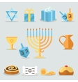 Jewish holidays hanukkah flat icons with menorah vector image