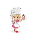 little girl chef with cupcake on plate kids menu vector image vector image