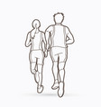 man and woman running together people run vector image vector image