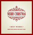 Merry Christmas holidays wish Greeting card vector image